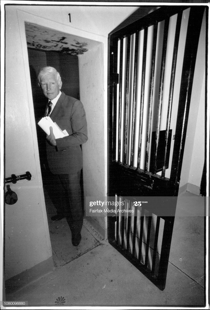 Lance STIRTON. Deputy Commissioner & State Commander Lance Stirton Inspect Newtown Police Station Cells which apparently don't comply to the Geneva Convention. November 15, 1991. (Photo by Alexander James Towle/Fairfax Media via Getty Images).