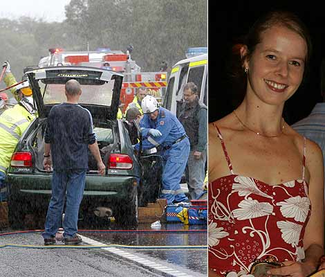The crash yesterday, and right, Elise Krejci. Photo: David Tease and Syliva Liber