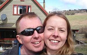 True love ... Policeman Brett Wright and his fiancee Elise Krejci.