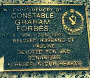 Constable 1st Class Graham FORBES - Grave plaque - Pinegrove Cemetery