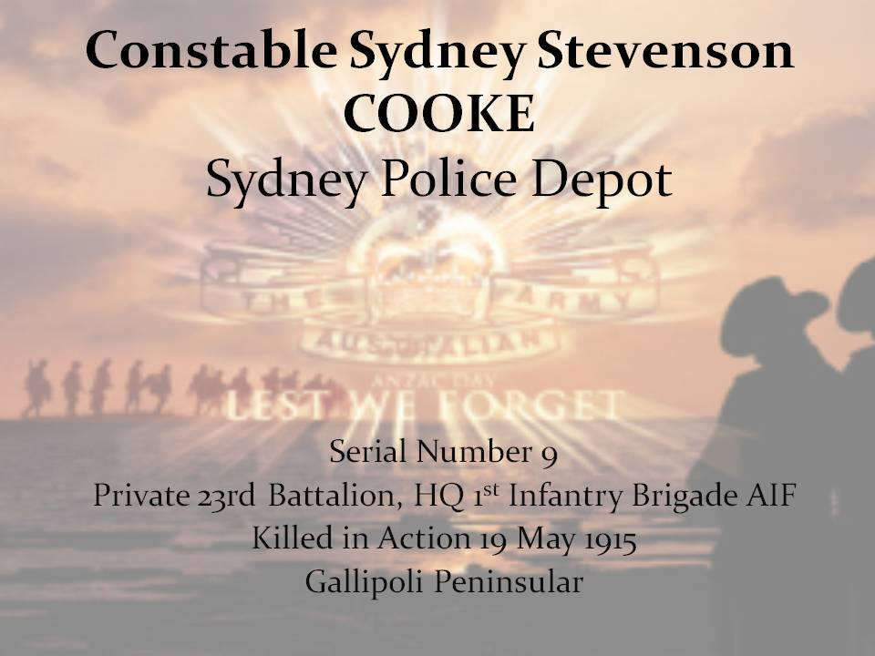 Sydney Stevenson COOKE - KIA 9 May 1915