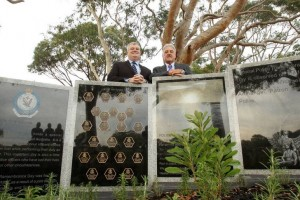Remembered: Graham Boyd and Phil Peters at the police memorial will will be opened on Thursday. Picture: Chris Lane.