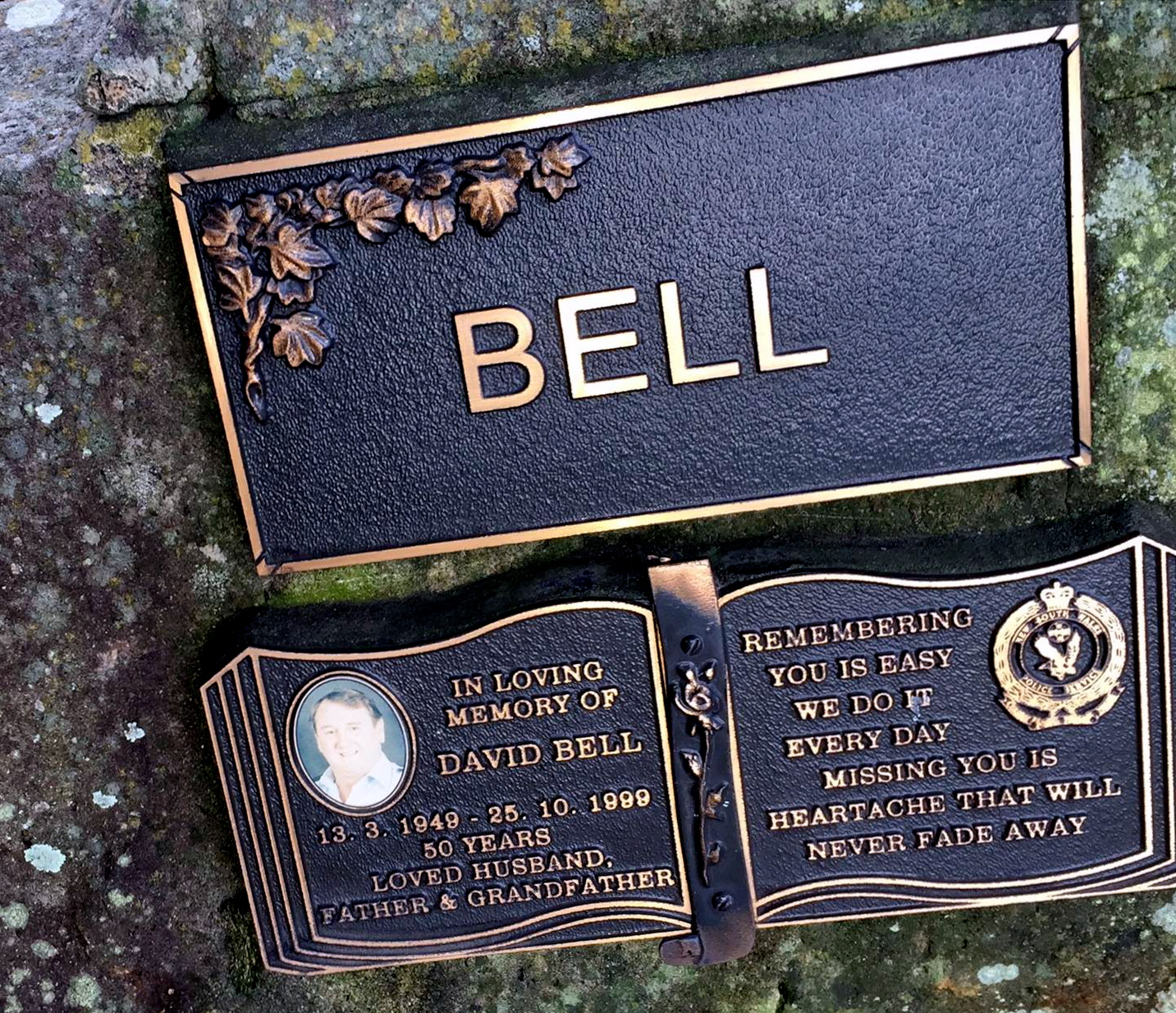 Memorial stone for David Bell at Beresfield Crematorium