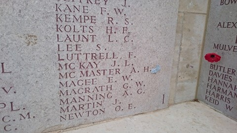 Memorial Wall - Lone Pine for Allan Hugh McMaster.