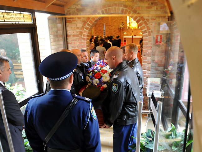 Respected and well-loved police officer Christopher Otis Plummer was farewelled today at Camden. Picture: Ian Svegovic.