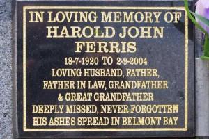 Harold John FERRIS - memorial plaque