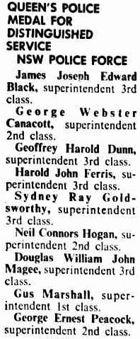 Canberra Times  Saturday  31 December 1977  p 13 of 22 Queen's Police Medal for Distinguished Service NSW Police Force Harold John Ferris, superintendent 3rd class