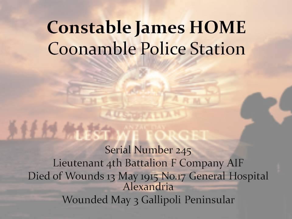 James HOME - NSWPF - KIA 13 May 1915