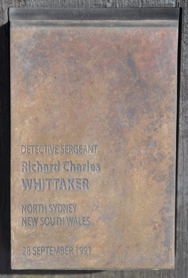 Touch plate for Richard Charles WHITTAKER at the National Police Wall of Remembrance