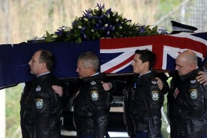 The funeral of Sergeant Brian 'BJ' Kenny at Hillside Chapel in Palmdale. Picture: Peter Clark