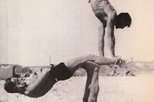 Bill Harris as an acrobat (in the middle).