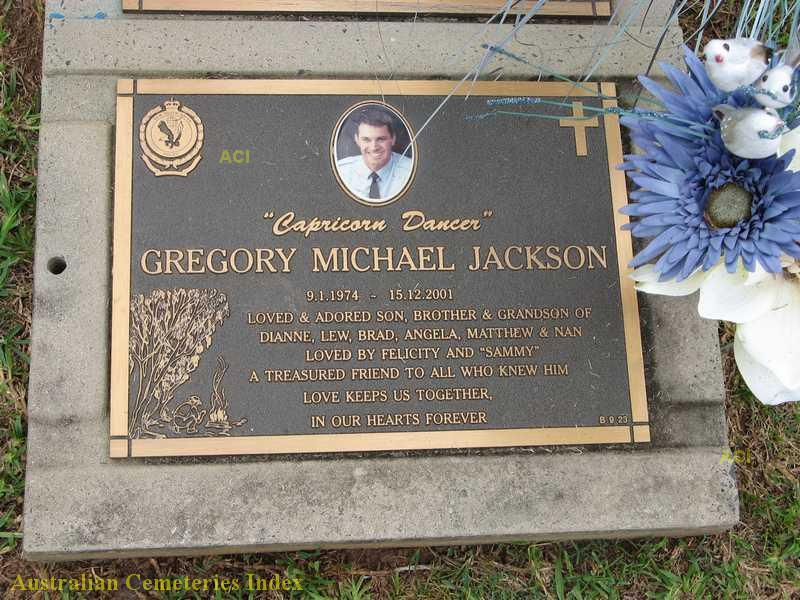 Gregory Michael JACKSON grave plaque in the Lawn section of Coffs Harbour cemetery.