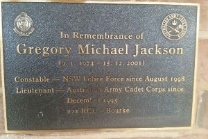 Gregory Michael JACKSON memorial plaque on the front wall of Bourke Police Station.