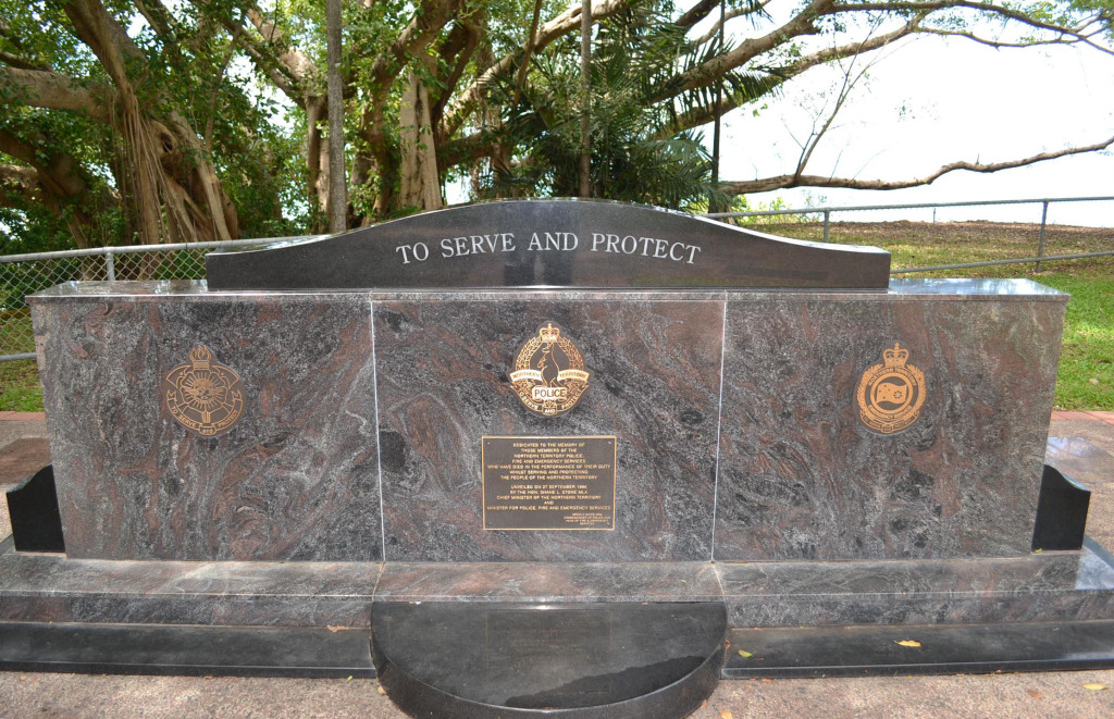 On the Darwin Esplanade, near the Cenotaph, there's is a memorial to all Northern Territory Police and Emergency Services workers who gave their lives in service to the community.