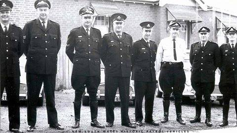 Senior Constable Ron Dobson, third from the left. Taken at Bathurst in the early sixties.