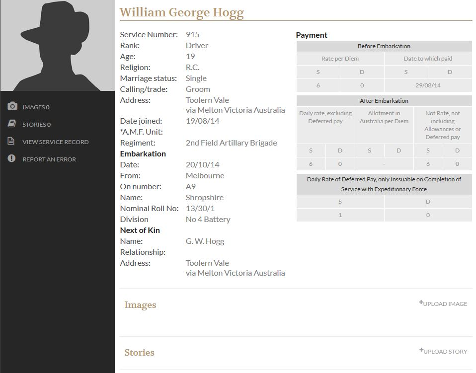 William George HOGG - Military record 1