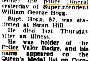 William George HOGG - death article. The Argus ( Melb. ) Tues 9 June 1953 p 6 of 16