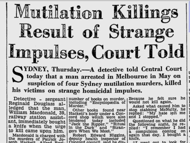 Newspaper coverage of William MacDonald's trial in 1963.