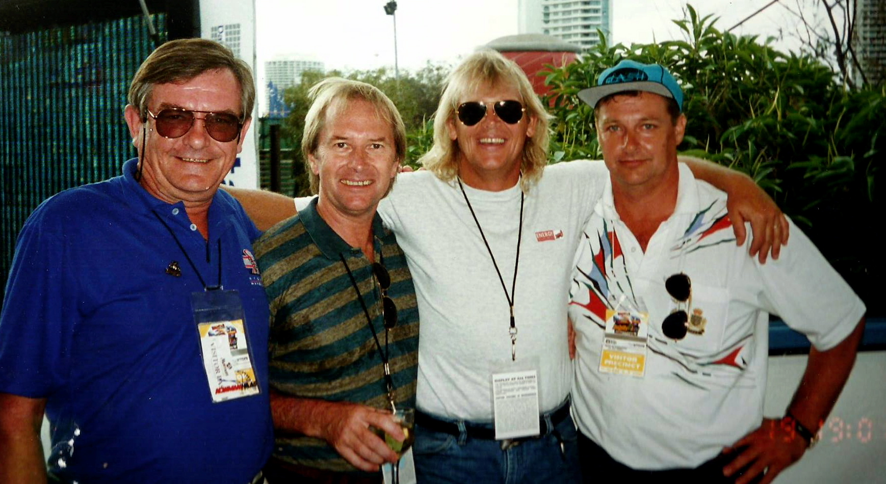 Ziggy Stengelis, Glenn Wheatley, John Farnham and Shaun Edwards at the Indy Grand Prix on the Gold Coast, Qld,1994. The four of us spent three days and two nights together....what a trip!