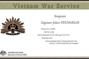 Zigmars Julius STENGELIS - Army Certificate