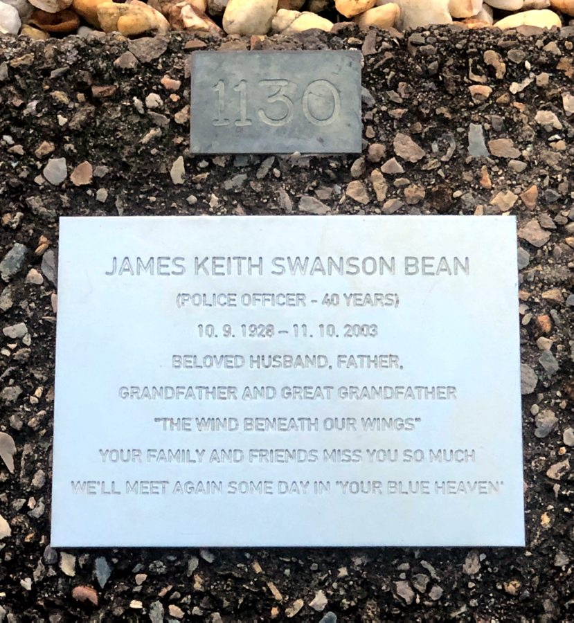 """James Keith Swanton BEAN aka Keith BEAN, @ Duke, Husband to Mary SCHNEIDER OAM ( for 35 years ) and Father to Melinda SCHNEIDER ( Country singer ). Inscription:<br /> JAMES KEITH SWANSON BEAN<br /> ( Police Officer - 40 years )<br /> 10.9.1928 - 11.10.2003<br /> Beloved Husband, Father,<br /> Grandfather and Great Grandfather.<br /> """" The Wind Beneath Our Wings """"<br /> Your family and friends miss you so much.<br /> We'll meet again some day in ' your Blue Heaven '"""