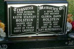 Grave stone of Keith & Gloria HOLSTEIN