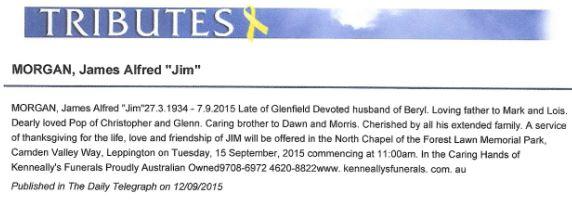 James Alfred MORGAN Death Notice