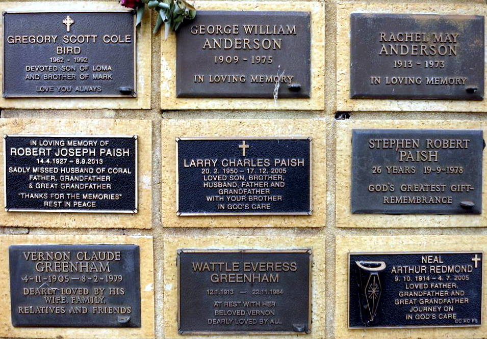 Larry Charles PAISH Ashes wall