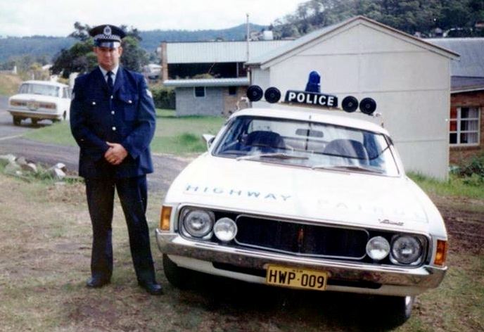 RON OUTSIDE OF THE OLD GOSFORD POLICE STATION WITH A HWP CAR.