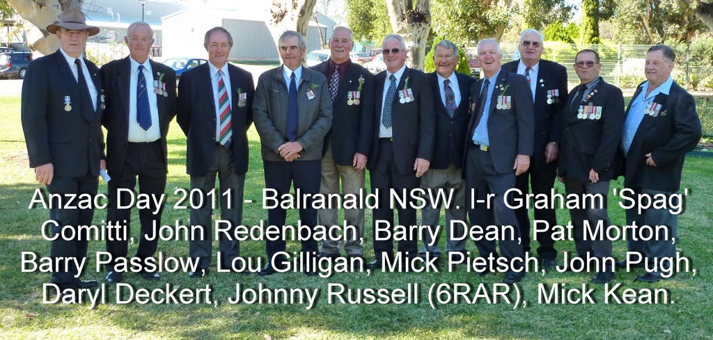 Balranald NSW. l-r Graham 'Spag' or 'Slatters' Comitti, John Redenbach, Barry Dean, Pat Morton, Barry Passlow, Lou Gilligan, Mick Pietsch, John Pugh, Daryl Deckert, Johnny Russell, Mick Kean. (AWOL is Col Pugh) BARRY THOMAS PASSLOW NSWPF DIED 23 OCTOBER 2015 LIONS MEMBER https://www.australianpolice.com.au/barry-thomas-passlow/ Balranald NSW. Anzac Day 2011 Barry PASSLOW THE GUARDIAN NEWSPAPER ANZAC DAY 2011