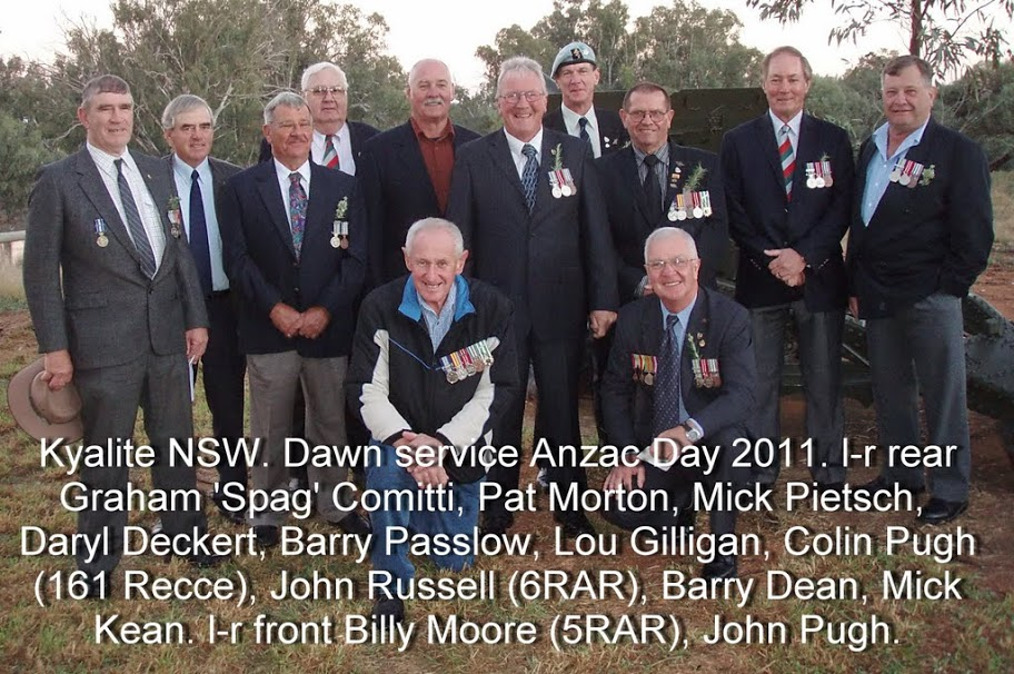 Kyalite NSW. Dawn service Anzac Day, Easter 2011. l-r standing - Graham 'Spag' Comitti, Pat Morton, Mick Pietsch, Daryl Deckert, Barry Passlow, Lou Gilligan, Colin Pugh, John Russell, Barry Dean, Mick Kean. kneeling - Billy Moore, John Pugh. BARRY THOMAS PASSLOW NSWPF DIED 23 OCTOBER 2015 LIONS MEMBER https://www.australianpolice.com.au/barry-thomas-passlow/ Balranald NSW. Anzac Day 2011 Barry PASSLOW THE GUARDIAN NEWSPAPER ANZAC DAY 2011