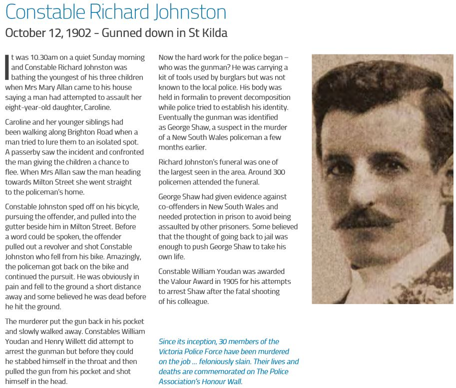 Richard JOHNSTON - VICPOL - Murdered 12 Oct 1902
