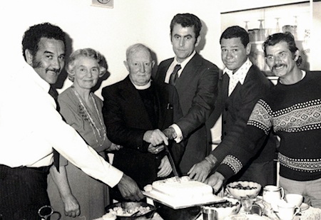 1976 Bill Espie standing next to Father Smith celebrating his 50 years of ordination – Charlie Perkins on far left next to Mrs Smith – Noel Hampton and David Woodford on far right