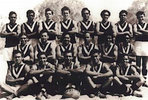 1950s Aboriginal Football Team Alice Springs: Bill Espie in back row 4th from left