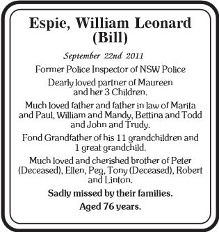 William Leonard ESPIE - Article - death notice