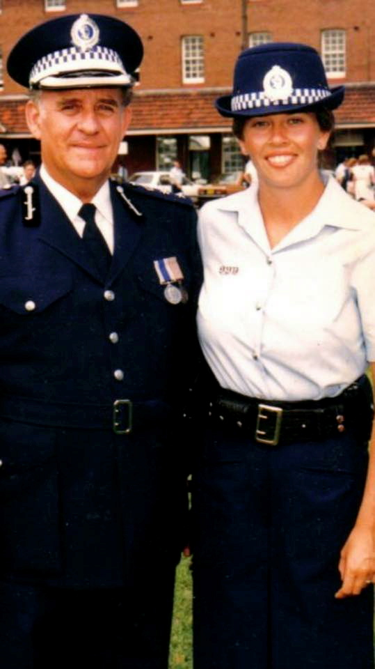 Les at Redfern Police Academy at the Passing Out Parade of his daughter, Deirdre WALPOLE nee Robinson on 13 January 198