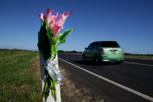 Flowers have been left at the scene of the fatal crash. Picture: Adam Head
