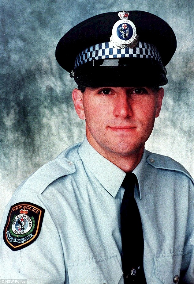 Kicked to death: Constable David Carty, 25, was set upon by young men a western Sydney tavern in April, 1997. He had earlier reprimanded for using obscene language. The men kicked him and struck him with bottles and machetes he lay in the tavern car park in what was later described as a 'brutal, ferocious and savage' attack. His killer is now out of prison