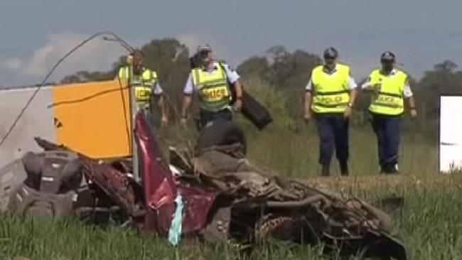 A four-year-old girl, the daughter of a policeman, died in the two-car crash. Picture: Channel 7