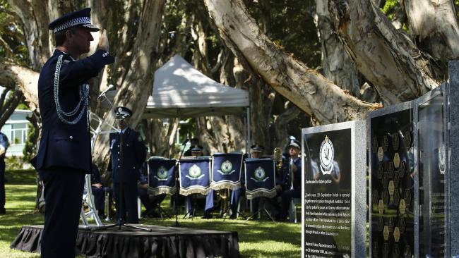 NSW Police Commissioner Andrew Scipione officially dedicates a new memorial honouring fallen officers at the Eastern Suburbs Memorial Park. Picture: Justin Lloyd