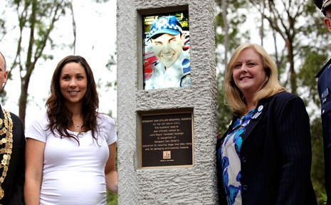 REMEBERED: A monument dedicated to Sergeant Dan Stiller, who died last December, was unveiled at a ceremony attended by his wife Julie Stiller last Wednesday. Sgt Stiller's family and friends also planted trees as a living memorial.