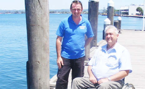 LANCE FERRIS WHARF: Ballina's mayor, Cr Phillip Silver, (right) with acting general manager of Australian Seabird Rescue, Keith Williams, announcing the naming of the wharf at Fawcett Park as the Lance Ferris Wharf.