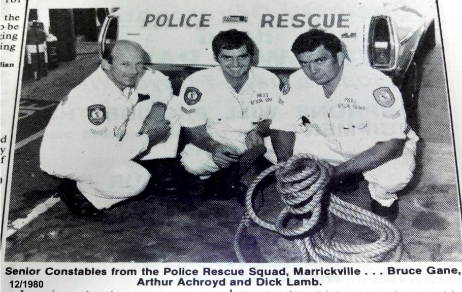 12 1980:Senior Constable from the Police Rescue Squad, Marrickville. Bruce Gane, Arthur Achroyd & Dick Lamb.