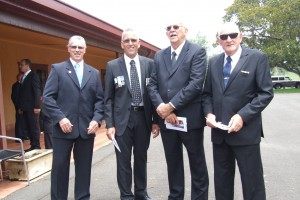 Max Sladden, Nev Greatorex, Pete Robb & Dick Cordwell await Dicks arrival at the service.