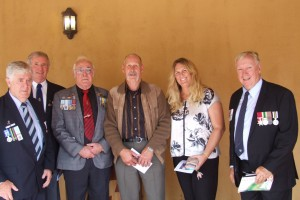 Gary Smith APM, John Glossop, Col Kelson VA, Brian (Storky ) O'Rourke & daughter, Gary Thornton SC await Dicks arrival.