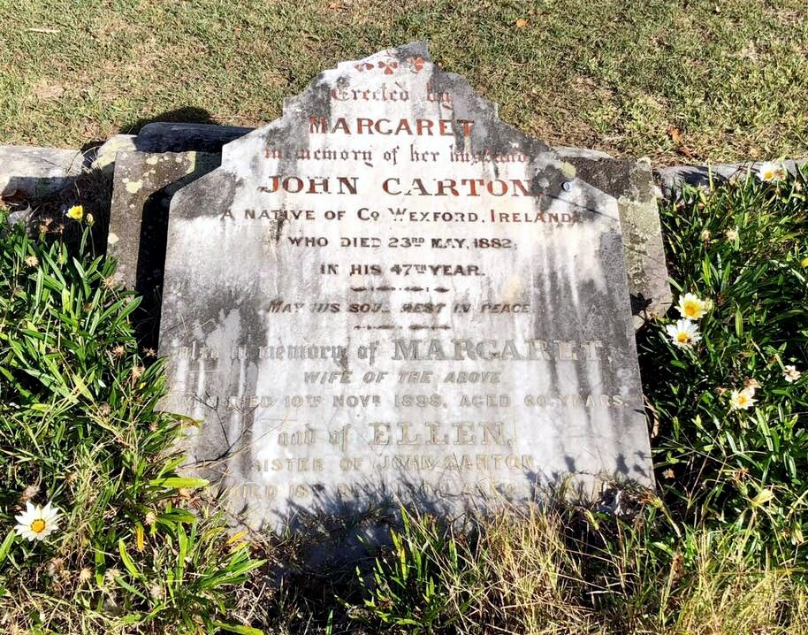 John CARTON & Margaret CARTON grave.  Photo taken Sunday 27 May 2018