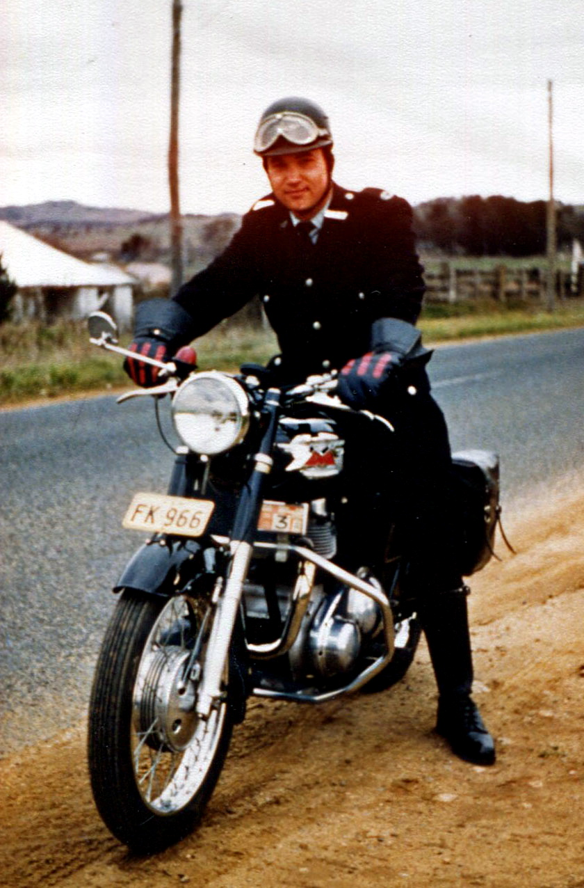 MICHAEL ROBERT KNIGHT ON A POLICE MOTOR CYCLE AT GUNNING.