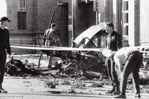 Minogue was sentenced to 28 years without parole for his part in the notorious Russell Street car bombing on Easter Thursday in 1986 (wreckage from the explosion)