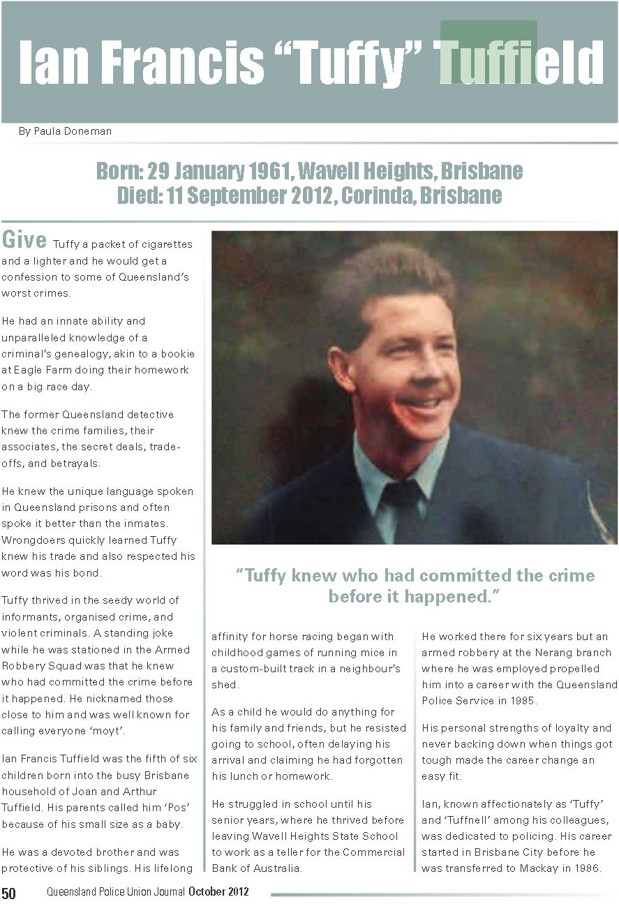 Ian Francis TUFFIELD - QPOL - Died 11 Sep 2012 - Article 1