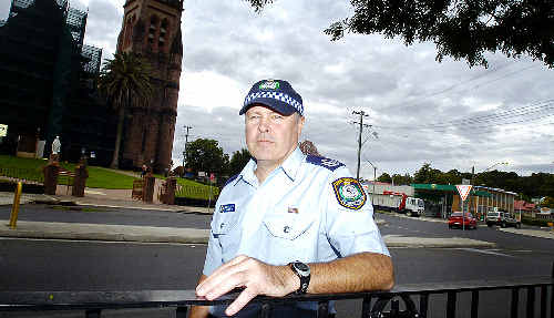 Lismore police sergeant Matt Jacka at the Lismore roundabout where he and fellow off-duty officers arrested the man involved in yesterday's road rage incident.